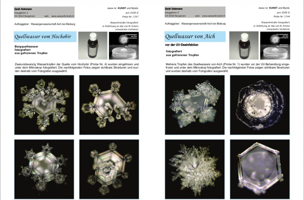 """Las fotos de la izquierda muestran los cristales del agua del manantial """"Hochobir-Quelle"""" en Suiza. Las fotos de la derecha muestran los cristales del agua que se encuentran en una fuente situada por debajo del manantial """"Hochobir-Quelle"""", llamado""""Aich-Quelle"""" y que ya muestran un aspecto considerablemente peor."""
