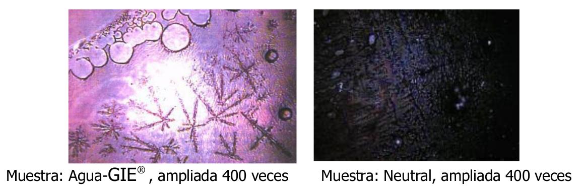 Muestras de agua ampliadas antes y después de pasar por el GIE